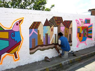 Painting a mural in La Palma